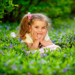 Happy child playing in a spring garden — Stock Photo #25455151