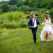 Stock Photo: Bride and groom walk in park