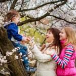 Family in spring garden — Stock Photo