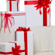 White boxes for gifts — Stock Photo