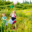 Children nets catch butterflies  — Stock Photo