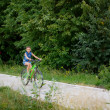 Teenage girl on bike trip — Foto Stock