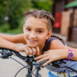 Teenage girl on bike trip — Stock Photo
