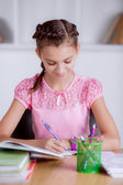 Girl studying at school — Stock Photo