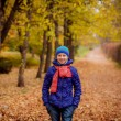 Teenage girl walking in autumn park — Stock Photo