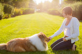 Beautiful girl with a beautiful collie dog — Stock Photo