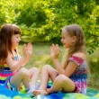 Childrens playing clapping game — Stock Photo #31276355
