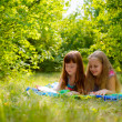 Girls lying  on the nature — Foto de Stock