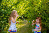 Happy girls with soap bubbles — Stock Photo