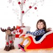Stock Photo: Beautiful little girl in sleigh
