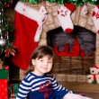 Stock Photo: Girl near Christmas tree with gifts