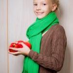 dziewczyna z jabłkami jesień ubrania — Zdjęcie stockowe