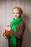 Girl with apples and mountain ash — Stock Photo