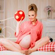Pregnant woman with ball — Stock Photo