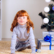 Little girl with gifts under the Christmas tree — Stock Photo #32285501
