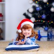 Girl with little gift under the Christmas tree — Stock Photo #32285505