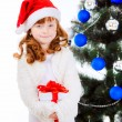 Little girl with gift near  the Christmas tree — Stock Photo