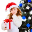 Little girl with gift near  the Christmas tree — Stok fotoğraf