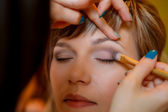Bridal make-up process — Stock Photo