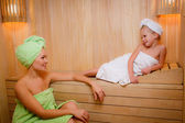 Mother and daughter in the sauna — Stock Photo