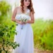 Beautiful bride in a wedding dress — Foto de Stock