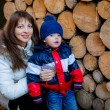Boy with mother stacking wood — Stock Photo