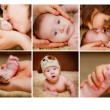 Collage of newborn with mother — Stock Photo