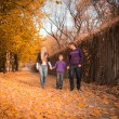 Family walking in the autumn park — ストック写真