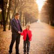 Dad and son handshake at the park.  — Stock Photo