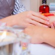 Preparation of hands to manicure — Stock Photo