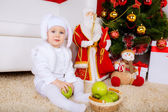 Boy with apples near the Christmas tree — Stock Photo