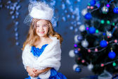 Little girl in princess dress with white hat — Stock Photo