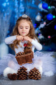 Little girl with cones in basket on New Year — Stock Photo