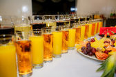 Banquet set up with drinks and food — Stock Photo