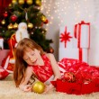 Girl with Christmas ball — Stock Photo