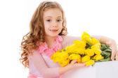 Happy girl with tulips — Stock Photo