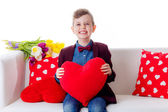 Boy with Valentine's heart — Stock Photo