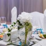 Table decoration of honeymooners — Stock Photo