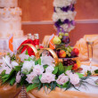 Table decoration of honeymooners — Stock Photo