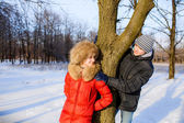 Boy and girl in winter — Stock Photo