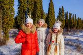 Girls in winter park — Stock Photo