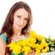 Pretty woman with tulips — Stock Photo