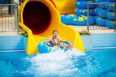 Girl in aqua park — Stock Photo