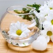 White chrysanthemums, vase and soap in the shape of heart — Stock Photo