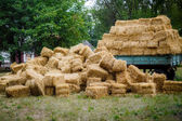 Haystack after wheat harvest — Stock Photo