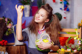 Teen girl with easter eggs — Stok fotoğraf