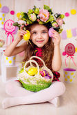 Girl in the room with Easter decorations. — Stock Photo