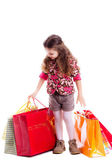 Beautiful stylish girl with bags from the store. — Foto Stock