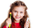 Little girl with a toothbrush. — Stockfoto