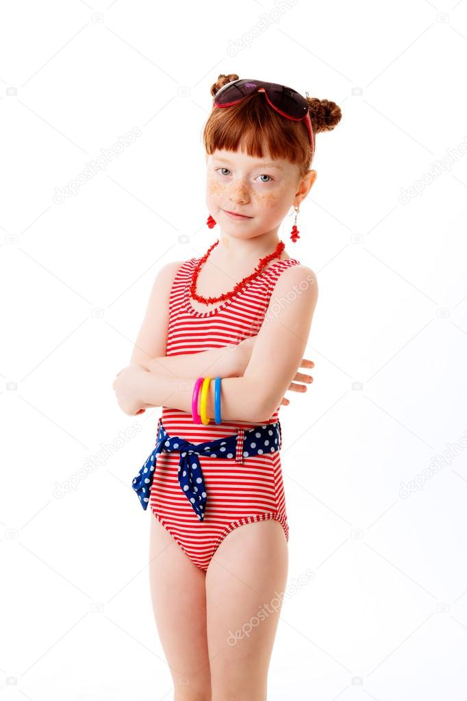 Little girl in a bathing suit stock photo hannanes 44010599 - Pics of small little girls ...